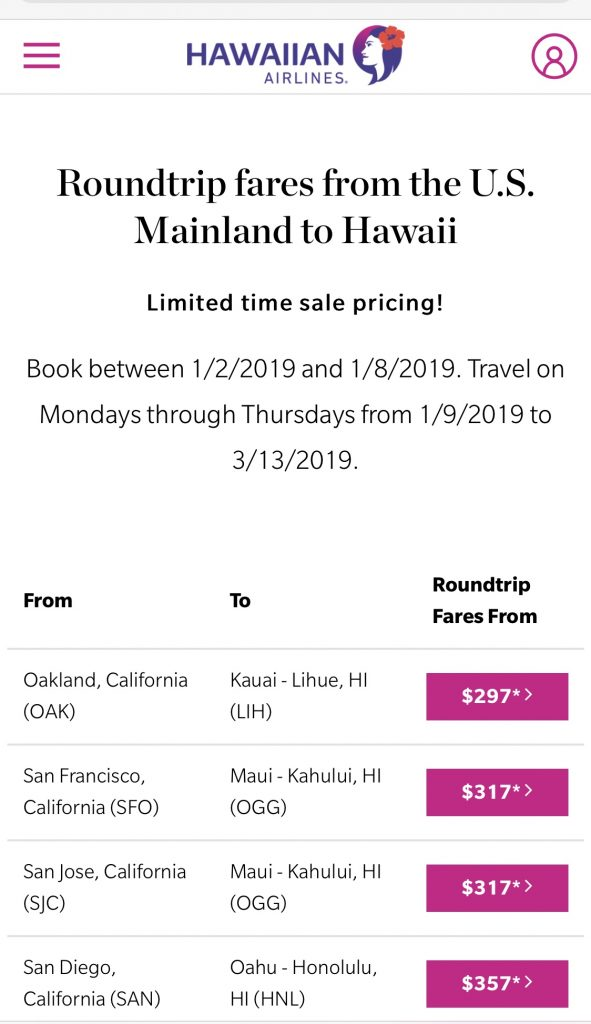 Hawaiian Airlines Flights Deal USA to Hawaii Roundtrip 2019
