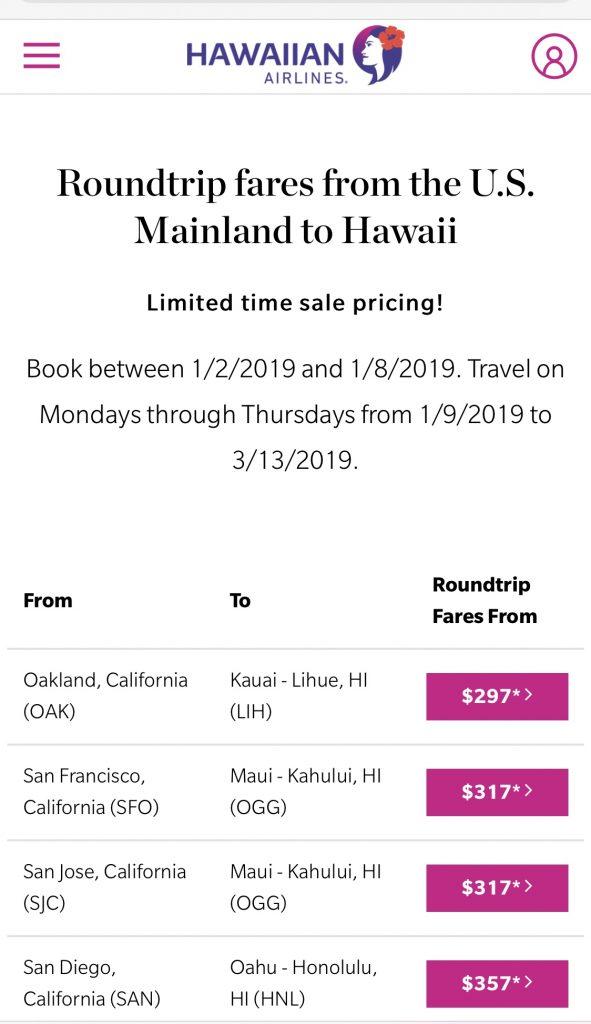 Hawaiian Airlines Flights Deal USA to Hawaii Roundtrip 2019