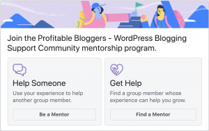 Screenshot of facebook group mentorship program