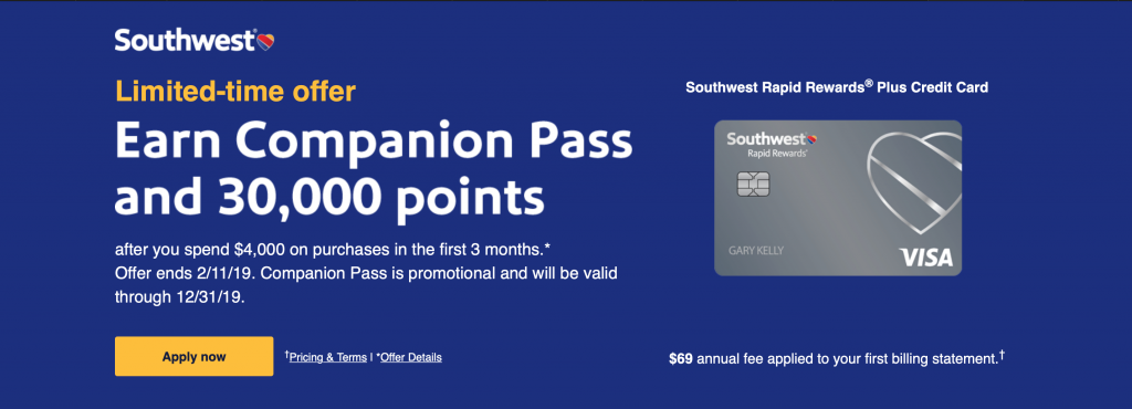 Southwest Spring 2019 Flash Sale Credit Card Offer