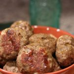 Turkey Marsala Meatballs Recipe in a brown bowl